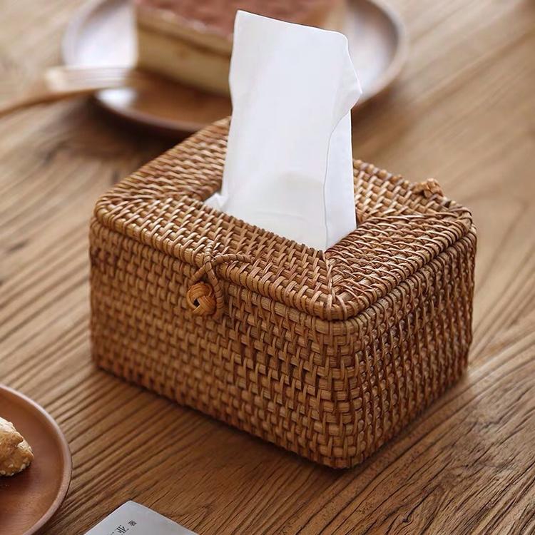 天然纯手工越南藤编长方形纸巾盒小号