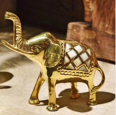 进口黄铜贝壳镶嵌大象摆件精品摆件礼品高档