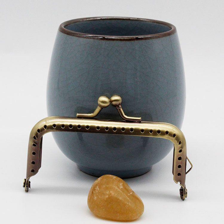 箱包配件8cm方形光面针孔单耳普珠头银色/金色/古铜/枪黑
