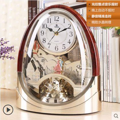 霸王音乐报时台钟客厅摆件书房静音时钟仿古座钟欧式创意座摆钟