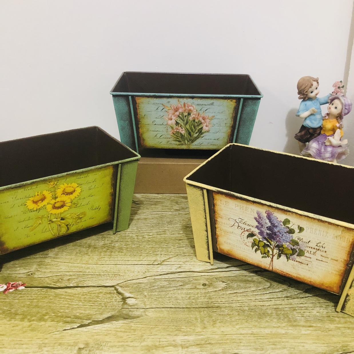 欧式复古田园风格长方形种花花器铁桶家居时尚收纳盒摆件