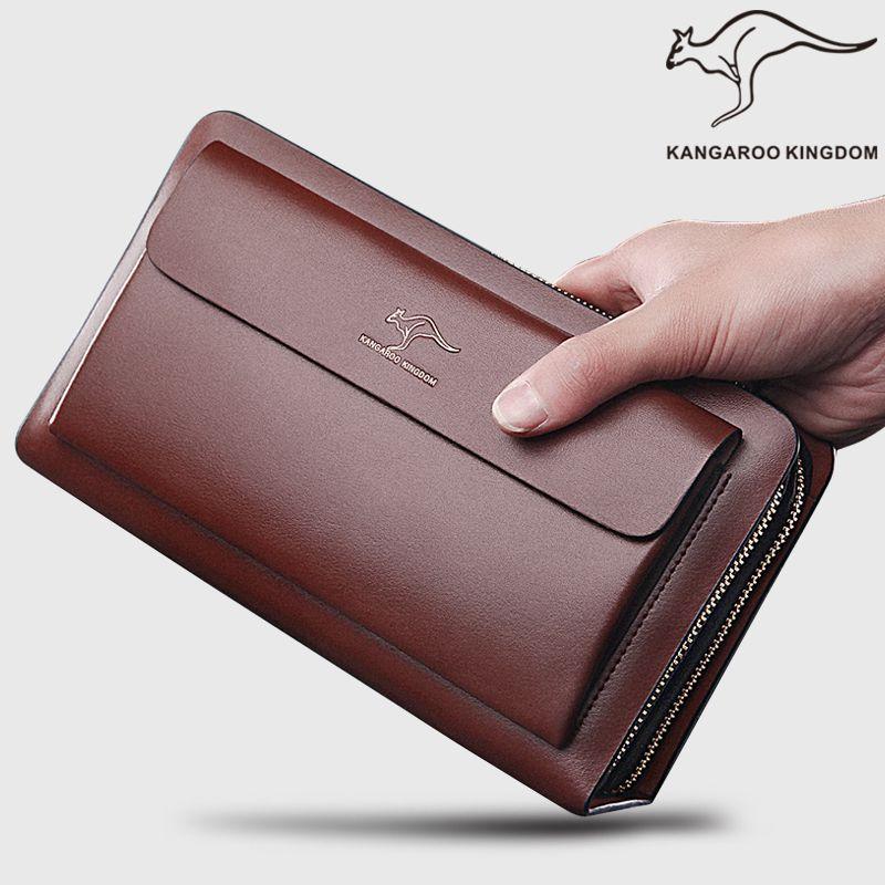 袋鼠男包男士手包真皮牛皮手拿包男商务大容量手抓双拉链钱包