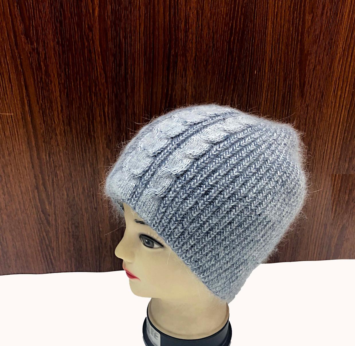 安哥拉兔毛针织提花套头帽滑雪帽男女通用