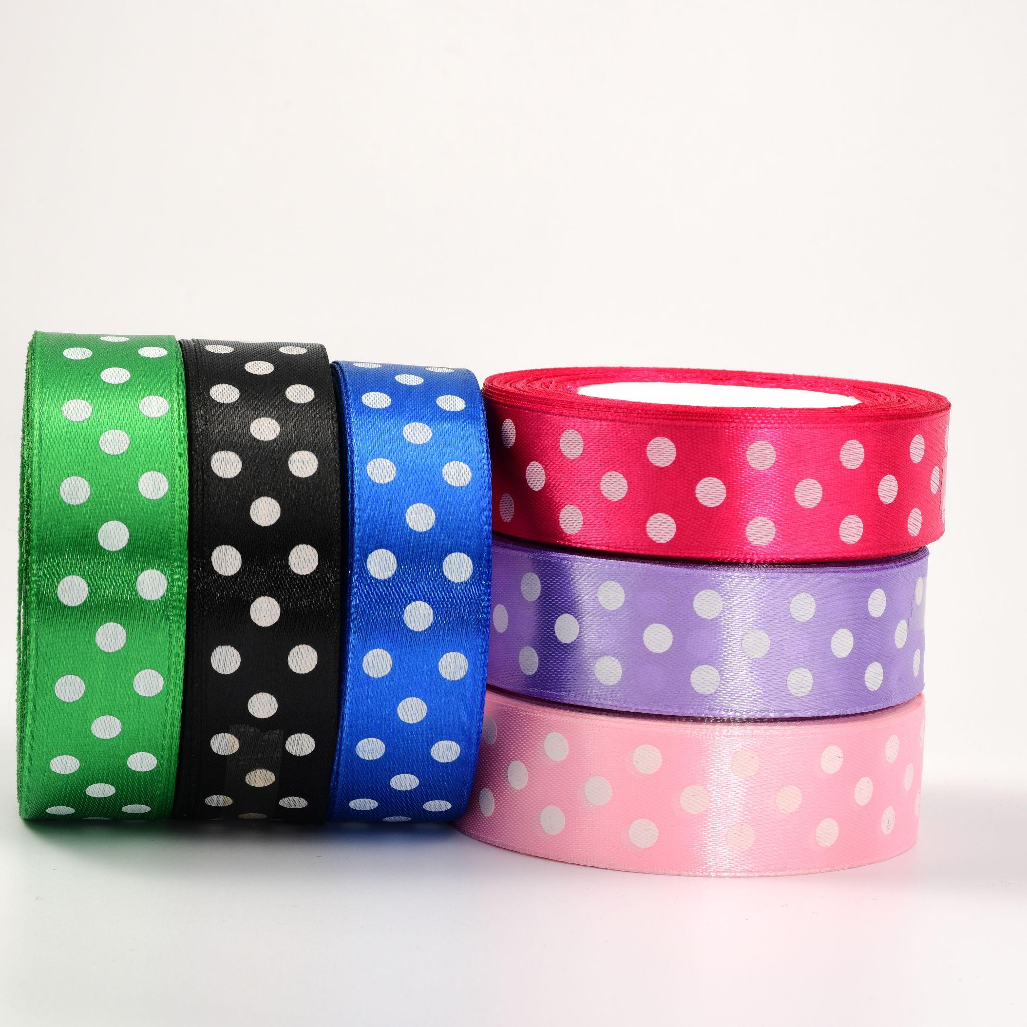 2.5cm彩色印点缎带 蝴蝶结配件礼品生日包装缎带 纺织辅料织带厂家直销