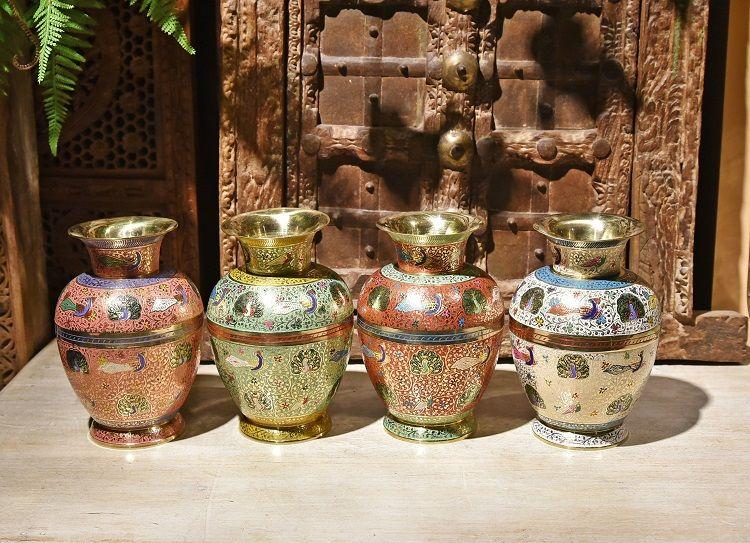 手工彩绘大号铜花瓶O款装饰器皿金属花瓶摆件插花