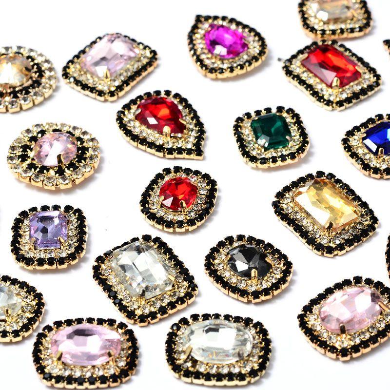 水晶珠爪钻爪链玻璃 diy饰品配件手缝水钻黑白相间双层烧焊链条