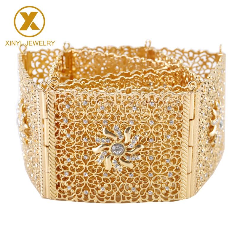 摩洛哥风格金典款镂空设计金属腰带,阿尔及利亚妇女民族婚礼珠宝腰链