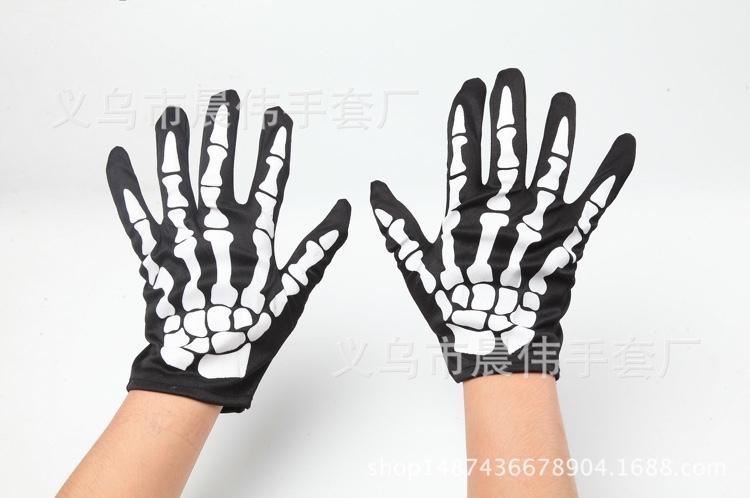 欧美朋克骷髅爪子关节骨节男女士万圣节狂欢用品表演短鬼手套