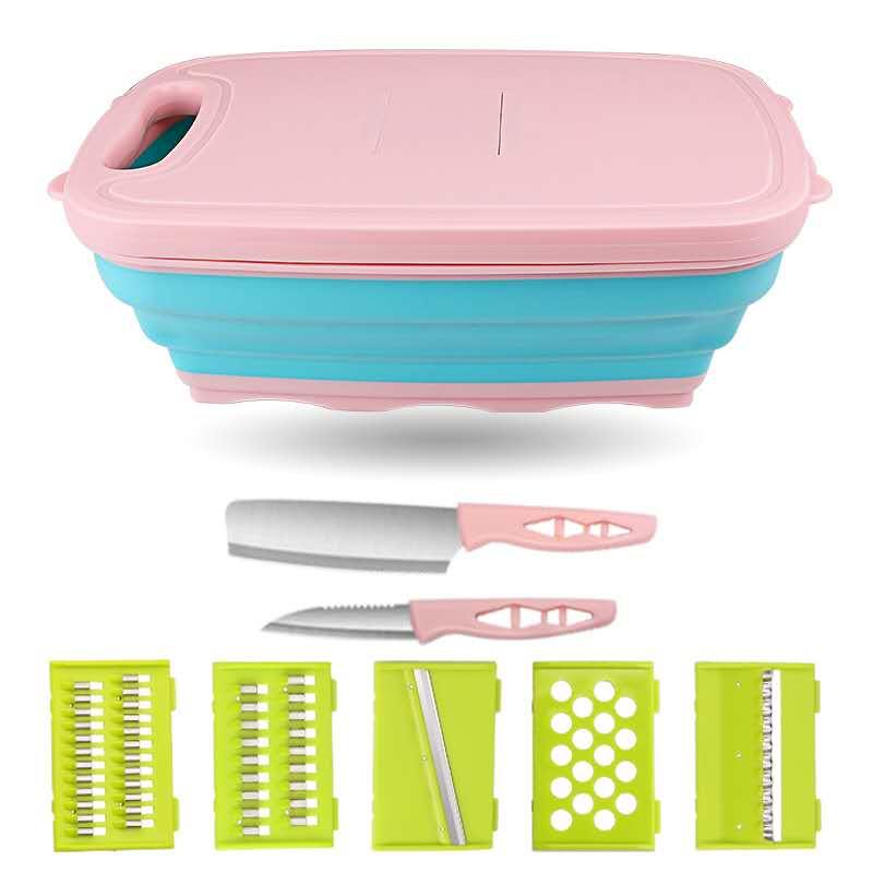 厨房多功能切菜板家用抗菌防霉刨丝器护手切菜神器水果刀折叠砧板