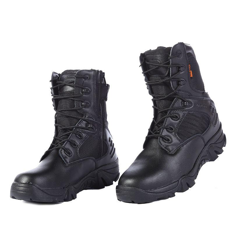 2020新款真皮战术军靴透气高帮户外沙漠靴男式作战登山鞋厂家直销