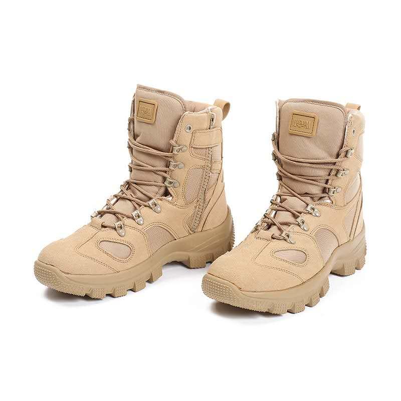 卡其色徒步登山高帮鞋野营战术靴夏季轻便男士军靴沙漠靴网眼批发