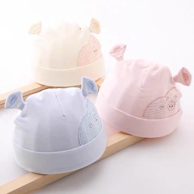新生婴儿儿帽子秋冬初生纯棉套头帽宝宝0-3个月春秋季新生儿胎帽