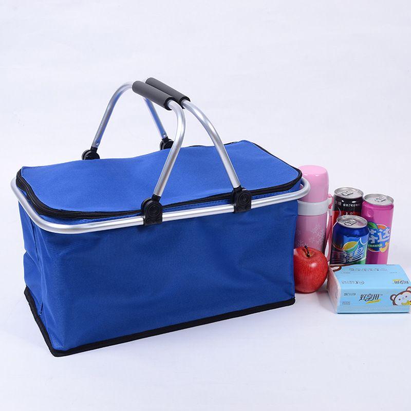 折叠购物袋户外便携防水铝膜野餐包牛津布铝管购物袋