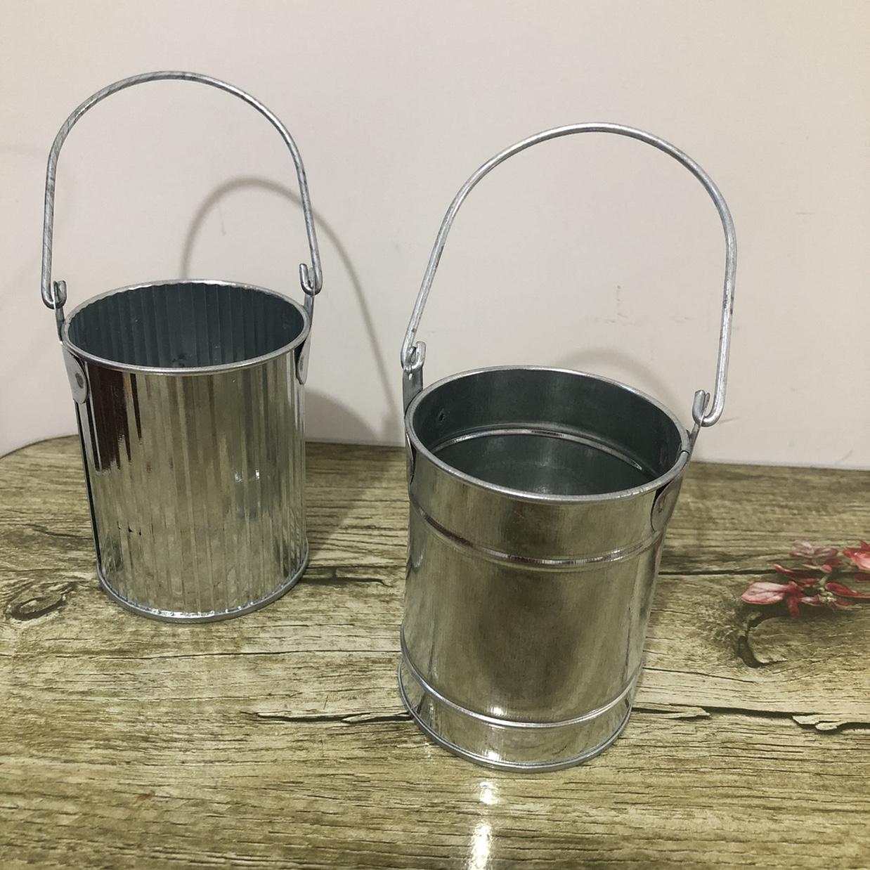 铁皮原色带提手小桶插花桶摄影道具摆件