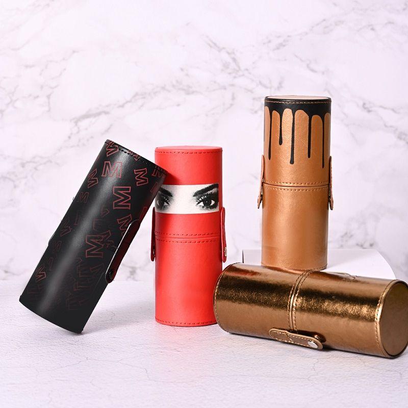 圆桶化妆刷PU桶装套刷12支木柄 腮红刷 眼影刷扇形刷散粉刷眼线刷