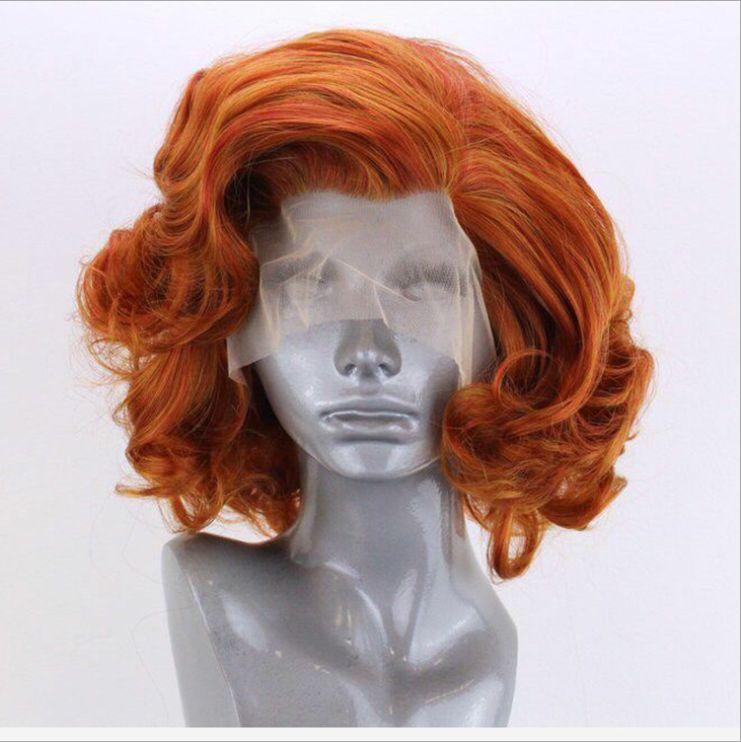 亚马逊新款假发 欧美爆款波波头蓬松短卷发wig前蕾丝假发化纤头套