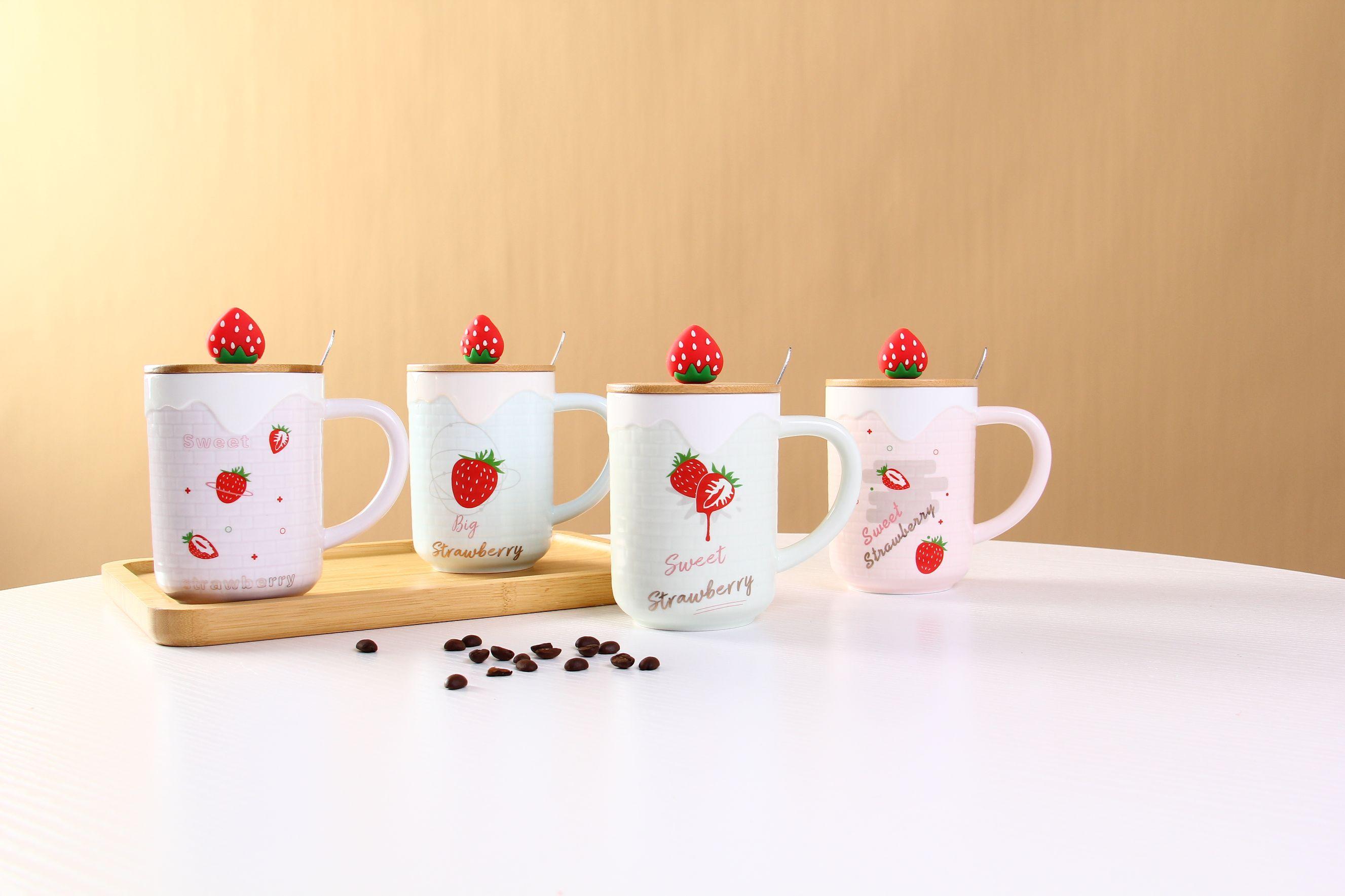 草莓手握杯带盖马克杯创意少女心