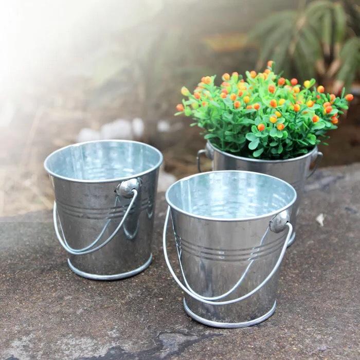 亚马逊爆款原色带提手桶多肉植物花盆花器