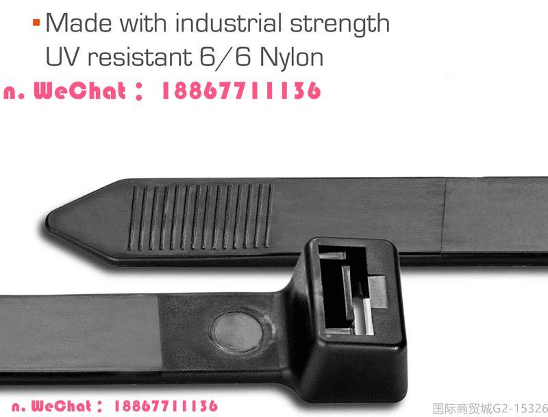25.59 英寸绳索132.28磅尼龙包裹拉链扎带、抗紫外线防风雨重型黑