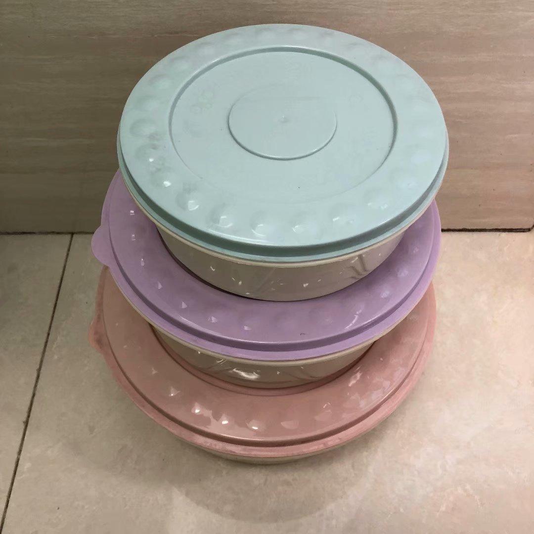 121-8022A圆形马卡龙彩色盖子,红色、紫色、蓝色保鲜盒三件套