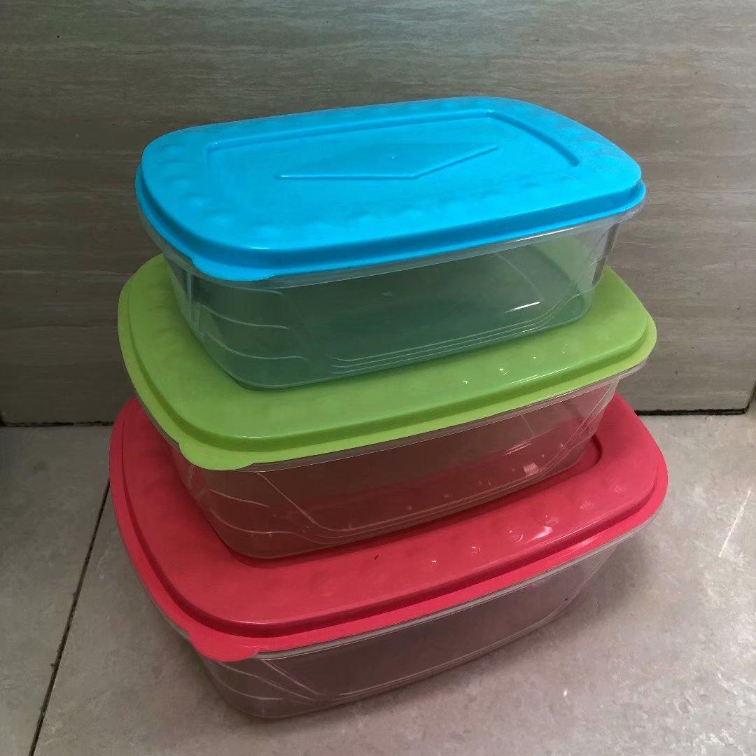 121-8020长方形彩色盖子可叠装三件套保鲜盒