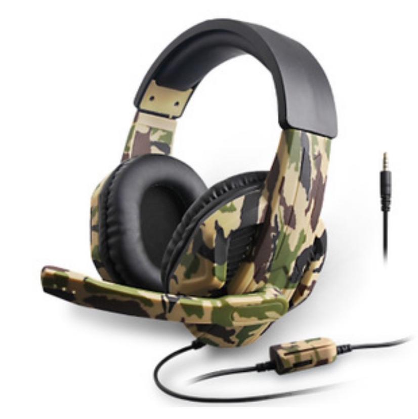 迷彩PS4游戏耳机,带调音,一键闭麦,头戴高品质耳机,吃鸡游戏高配,网游配置耳机