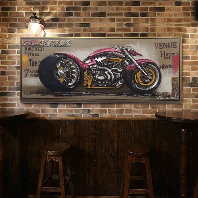 厂家直销批发美式复古立体机车木板壁画饭店餐厅酒吧咖啡厅墙面立体装饰画