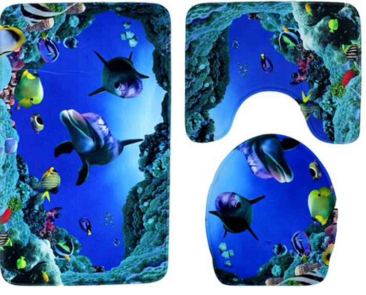 海底世界数码印花浴室地垫三件套