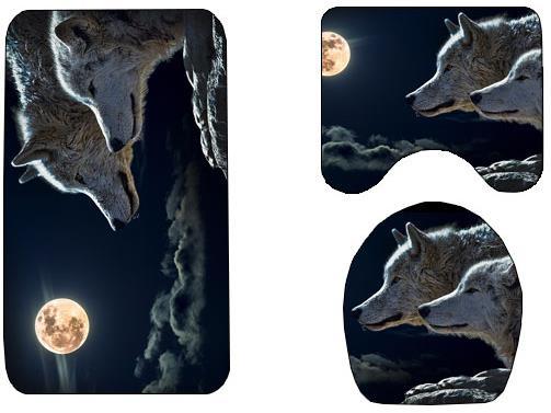 狼与月数码印花浴室地垫三件套