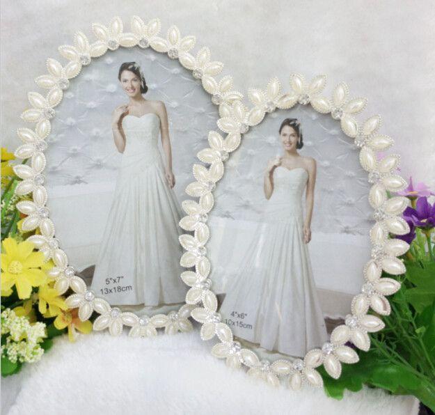椭圆珍珠 金属相框 创意相架 影楼婚纱像框  相框  摆台相框