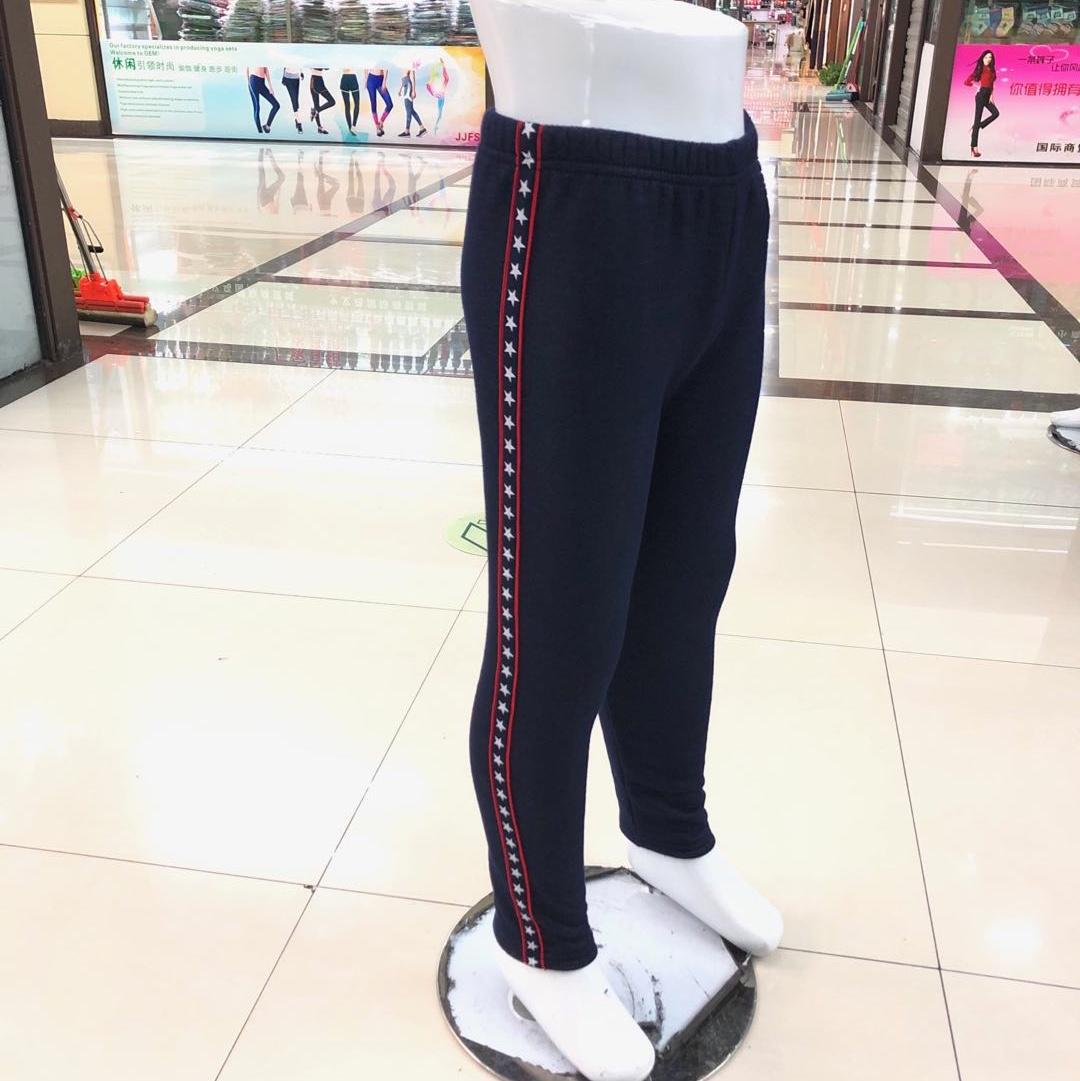 针织牛仔童裤两边拉条五角星图案打底裤