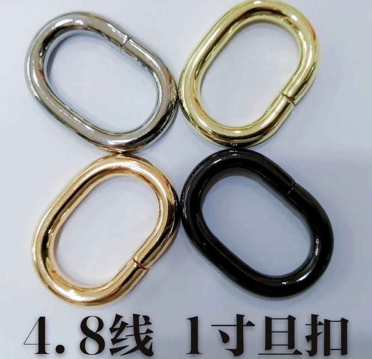 旦扣1*5直销优质箱包服饰五金圆圈光圈铁环铁O圈高品质电镀拉芯方扣