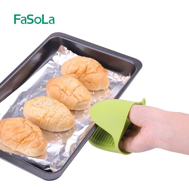 Fasola硅胶微波炉手套防烫夹碗夹碟夹取盘夹防烫隔热烤箱厨房手套