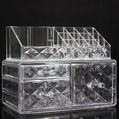 透明厚款钻石亚克力收纳盒带抽屉唇膏架口红架