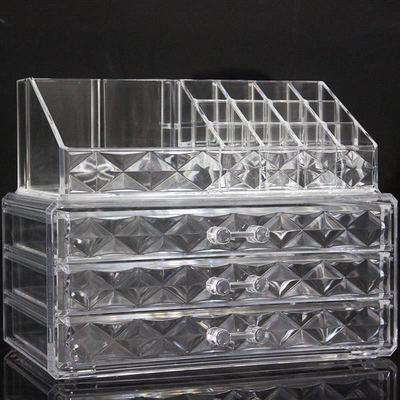 透明钻石厚款亚克力大号收纳盒带抽屉唇膏架口红架