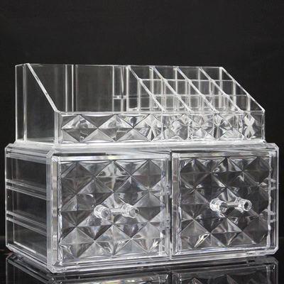 透明厚款钻石亚克力收纳盒带抽屉唇膏架