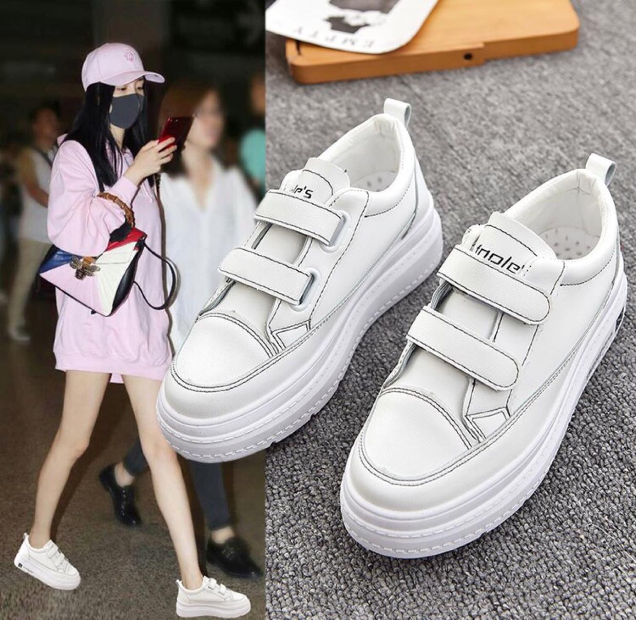 网红夏季厚底松糕鞋女2020夏季新款韩版学生内增高皮面鞋平底女鞋