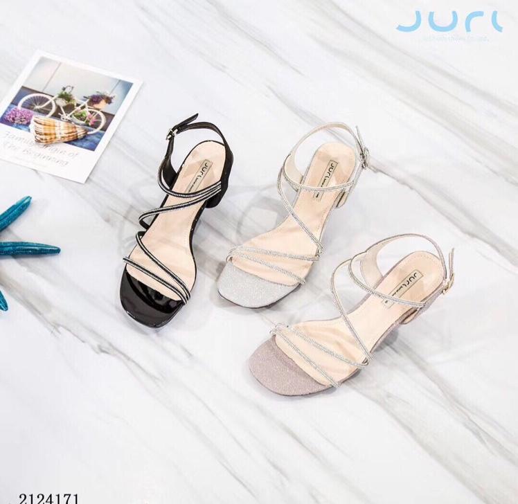 凉鞋女2020巨日夏季新款韩版露趾水钻一字带猫跟女鞋2124171