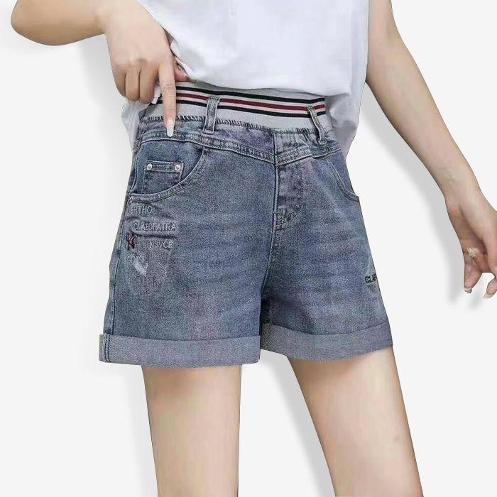 休闲牛仔短裤女2020夏纯棉薄款松紧腰字母刺绣阔腿短裤