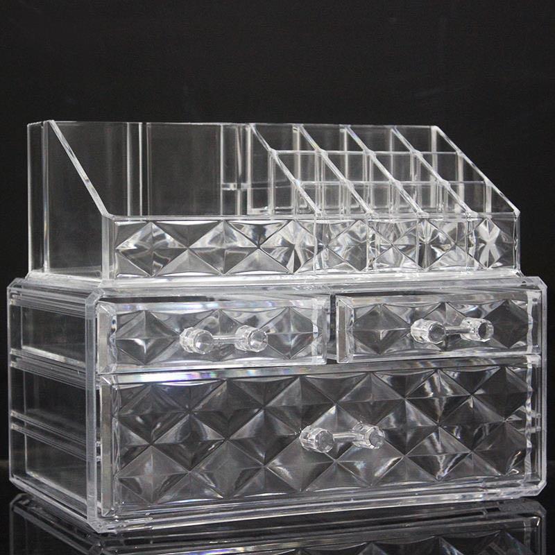 透明厚款亚克力收纳盒钻纹带抽屉