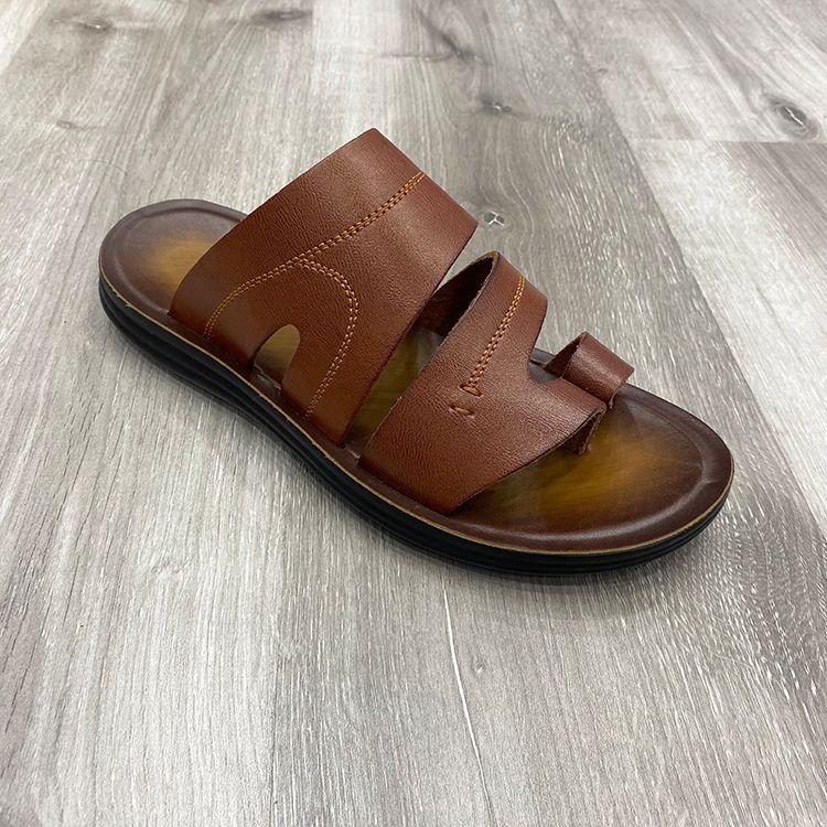 China shoes for men slipper 工厂定制真皮男拖鞋沙滩凉拖平底