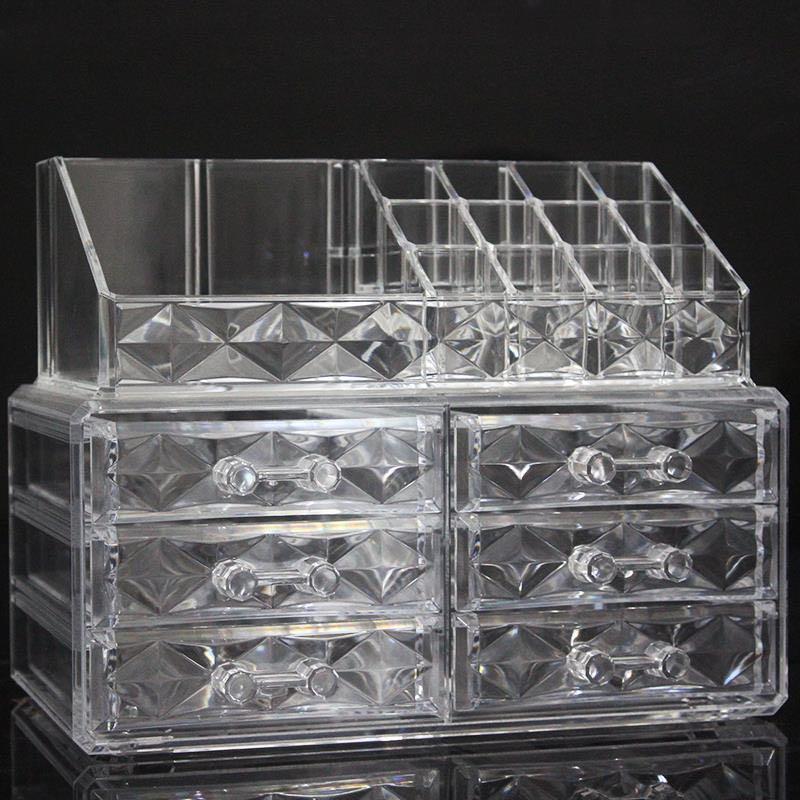 透明厚款亚克力收纳盒钻纹带六抽屉