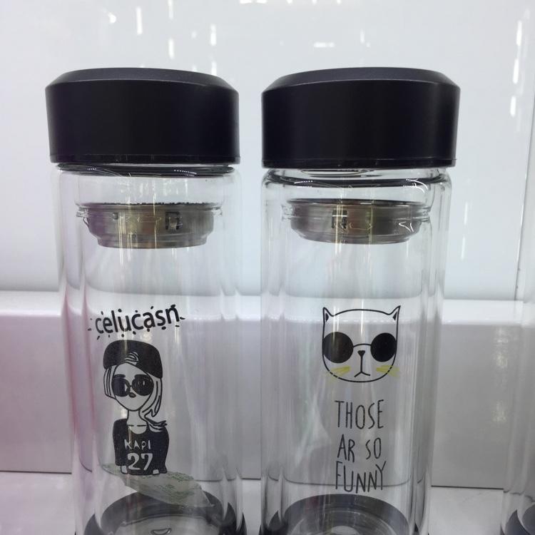 防滑硅胶底双层卡通玻璃杯