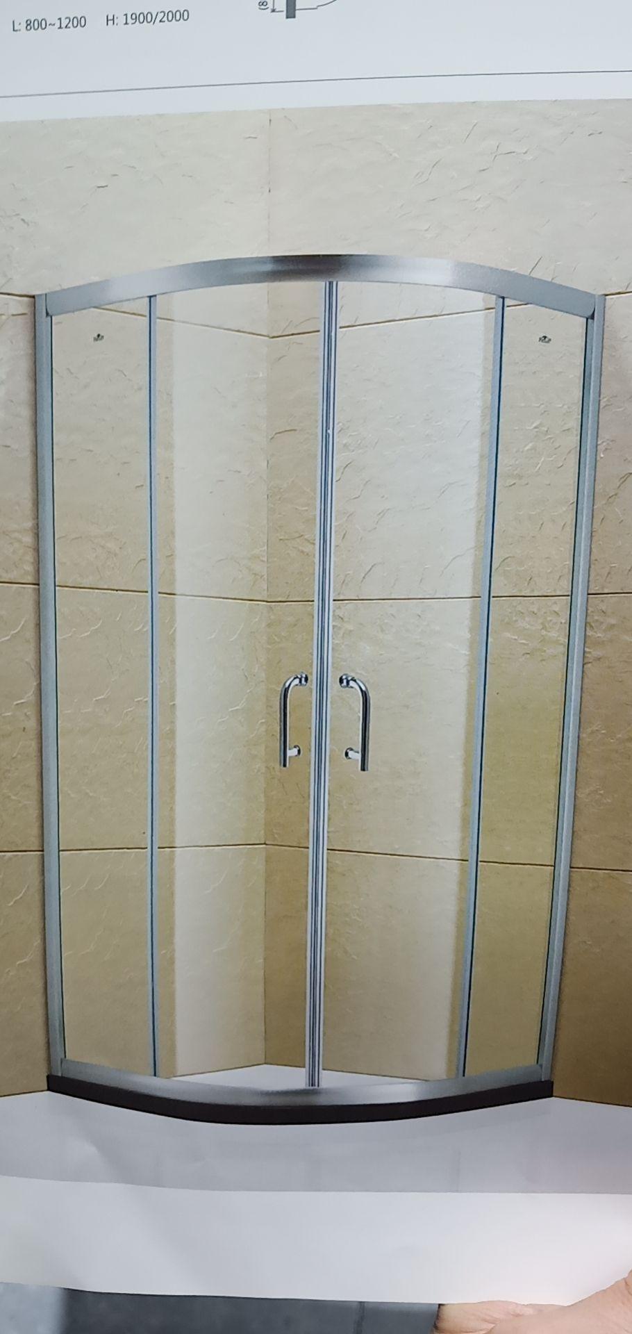 法兰浴王牌现代简约圆弧型推拉淋浴房哑银色