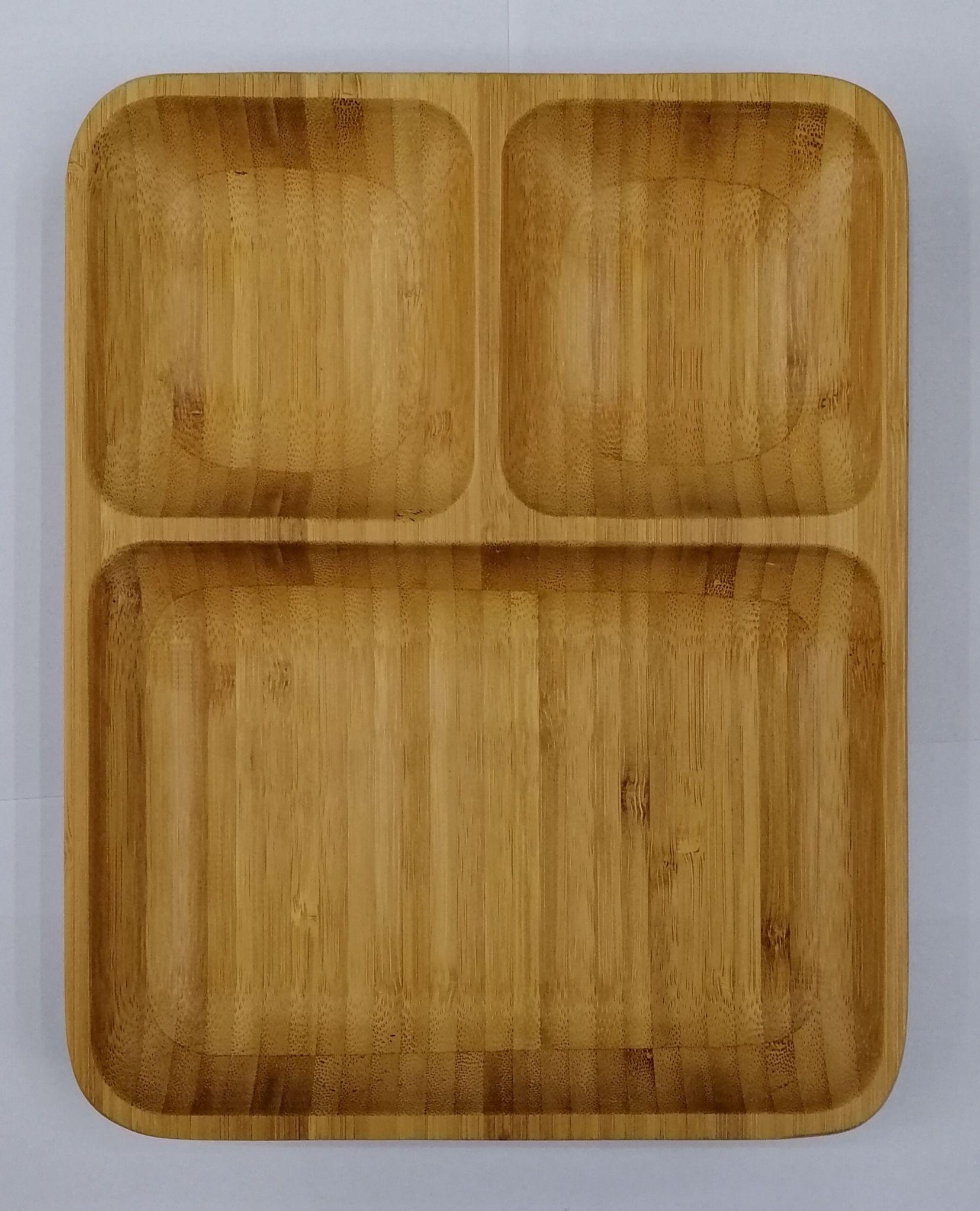 竹制长方形三格碗竹水果盘坚果盘北欧家用环保