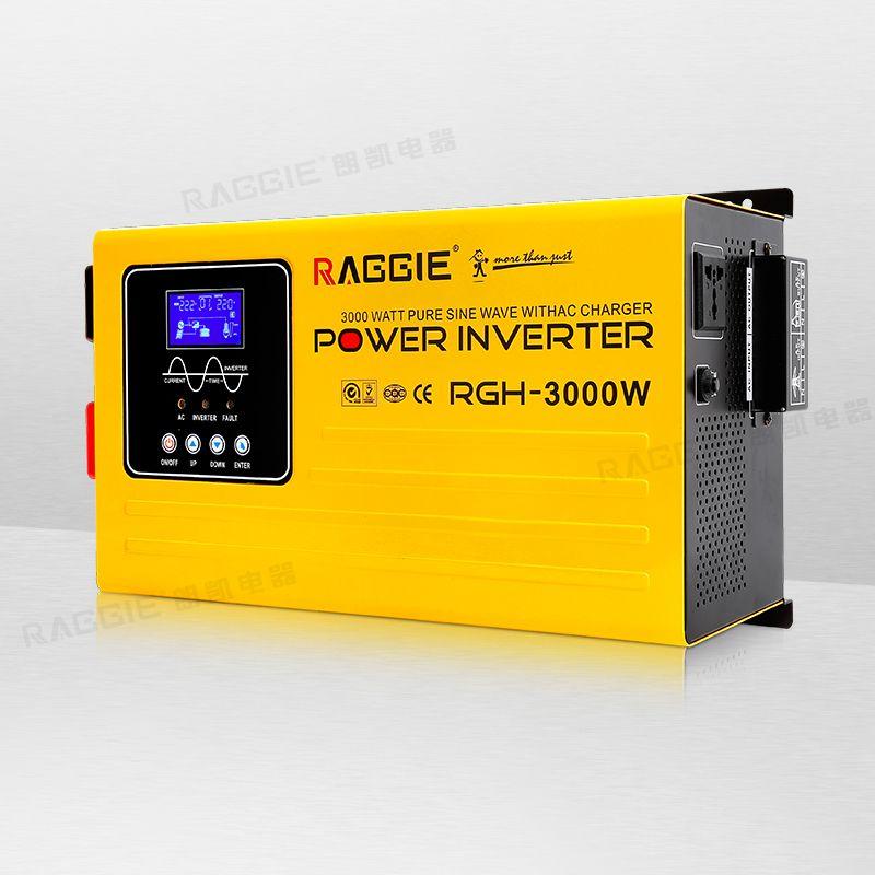 纯正弦波逆变器,带液晶显示屏,带AC充电 RGH-3000W 24V-110/220V
