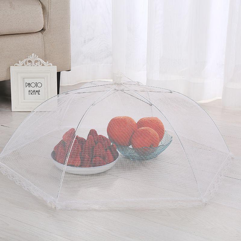 定制伞形白色可折叠饭菜罩纱网布食物罩防苍蝇罩悬挂式餐桌罩批发