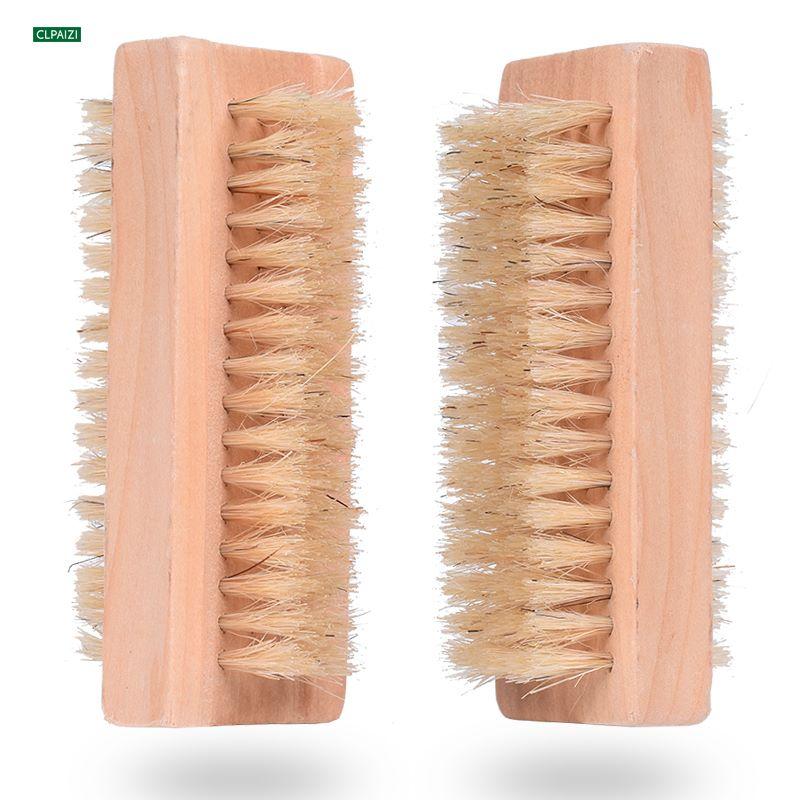 木制小刷子双面猪鬃毛刷 厂家原木清洁刷 指甲刷跨境按摩身体刷子