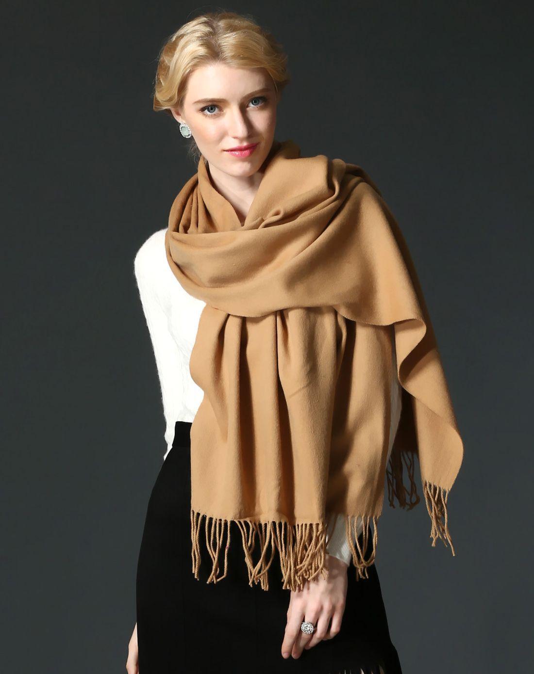 纯羊毛披肩围巾粗纺素色围巾驼色