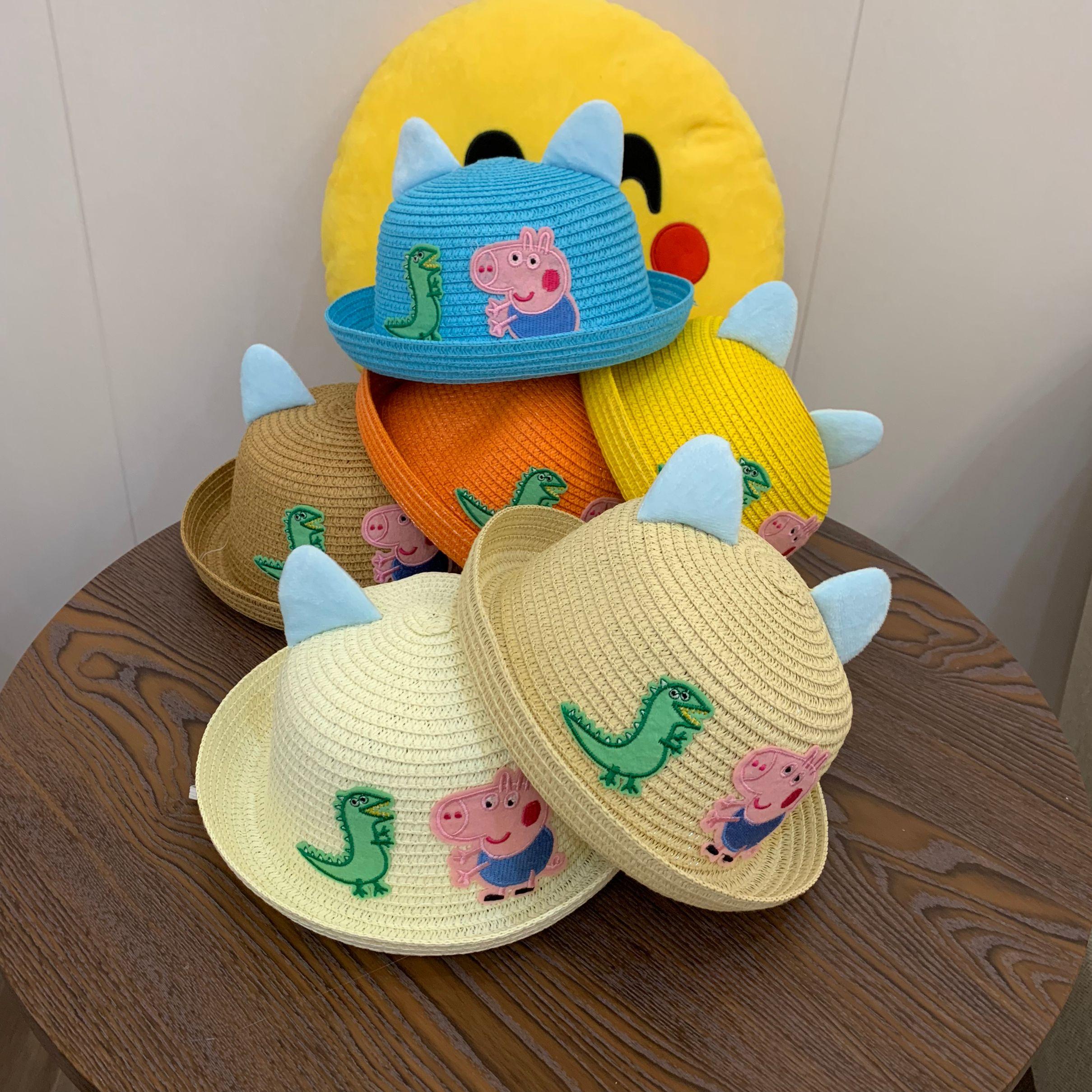 厂家爆款旅游防晒草帽卡通熊猫太阳帽 创意儿童礼品帽一件代发28